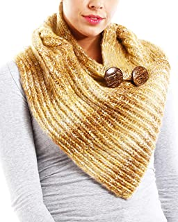APPARELISM Women's Soft Chunky Knitted Loop Tube Infinity Collar Scarf with Classic Buttons