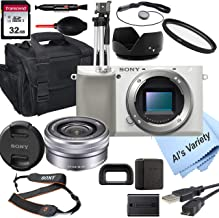 Sony Alpha a6100 (White) Mirrorless Digital Camera with 16-50mm Lens+ 32GB Card, Tripod, Case, and More (18pc Bundle)