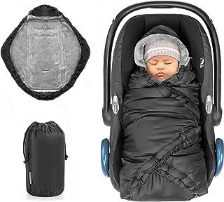 Zamboo Einschlagdecke für Babyschale und Babywanne - praktische Alternative zum Winter Fußsack, weiches und wattiertes Thermo Fleece - Schwarz Basic