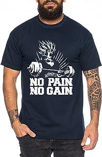 Gohan No Pain No Gain One Goku Dragon Master Son Ball Gym Vegeta Roshi Piece Golds Camiseta de Hombre