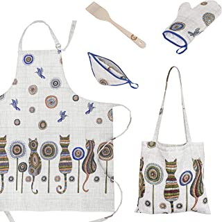 ViKei Cat Print Kitchen Apron Gift Set for Women in Beautiful Box - Unique Kitchen Gift Set for Mom and Wife - Best Birthday Cooking Gift Set for Women Who Like to Cook