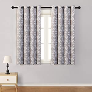 MYSKY HOME Blackout Curtain, Morrocan Print Drapes with Geometric Design, Thermal Insulated Room Darkening Window Curtain Panels for Living Room,Bedroom,52 by 63 Inch,Taupe,1 Pair