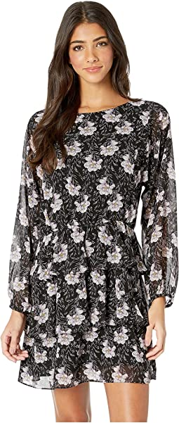 Long Sleeve Bloomsbury Floral Tiered Ruffle Dress