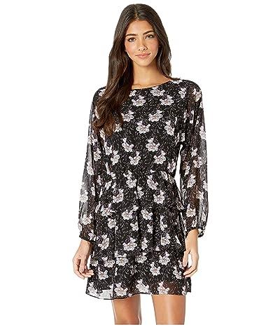 1.STATE Long Sleeve Bloomsbury Floral Tiered Ruffle Dress (Rich Black Multi) Women