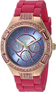 GUESS Women's U0777L1 Sporty Rose Gold-Tone Stainless Steel Watch with Multi-function Dial and Pink Strap Buckle