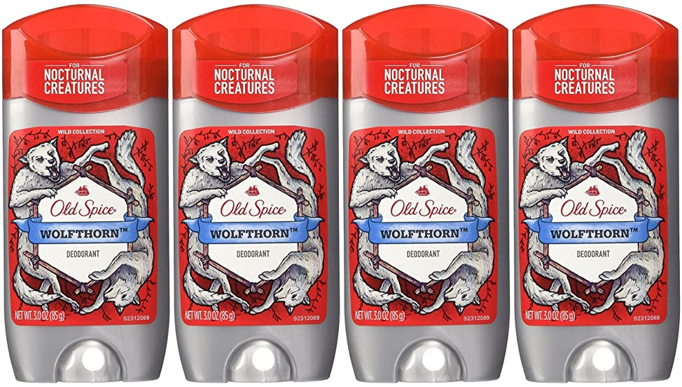 Old Spice Wild Collection Wolfthorn Scent Men's Deodorant 3 Oz (Pack of 4)