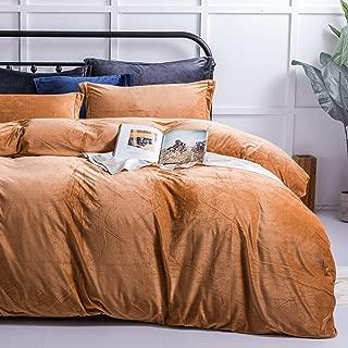 NTBAY Velvet Flannel Duvet Cover Set, 3 Pieces Zippered Comforter Cover Set, Queen, Camel