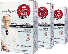 GoodSalt: The Better Salt with Potassium and Magnesium, Tasty Low Sodium Iodized Mineral Salt, Less Sodium Healthy Salt Substitute with Real Salt Taste, VALUE PACK, 3 Packs of 12 Ounces