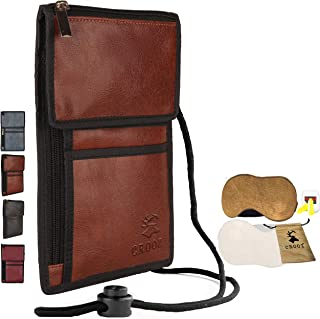 Travel Wallet | RFID Passport Holder | Family passport Wallet | Security Neck Wallet for Peace of mind with free eye mask & earplugs-Brown