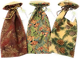 """Autumn Leaves Motif - Reusable Fabric Drawstring Gift Bag 