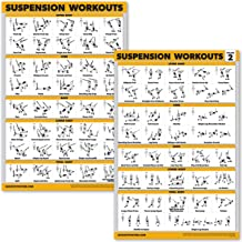 "QuickFit 2 Pack Suspension Workout Posters - Volume 1 & 2 - Laminated Exercise Charts - 18"" x 27"" Vol. 1 & 2"