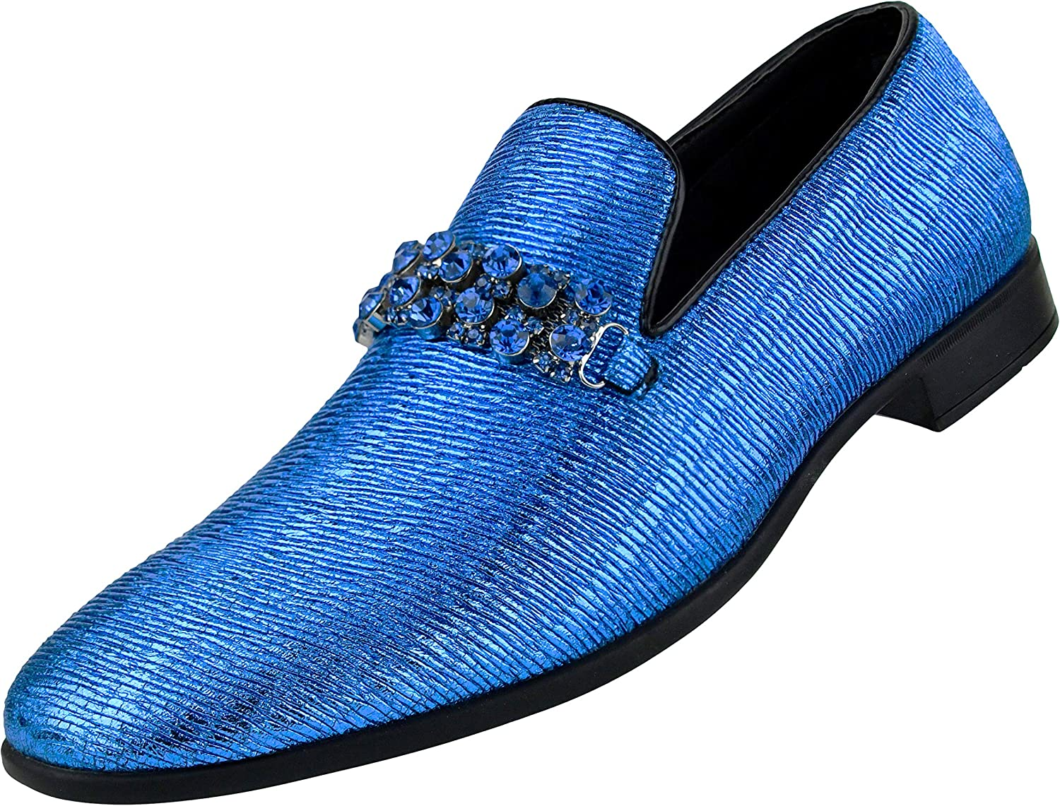 Amali Kaleido, Men's Slippers - Loafers for Men - Mens Shoes Slip On - Tuxedo Shoes - Mens Casual Shoes - Smoking Slipper with Rhinestone Bit