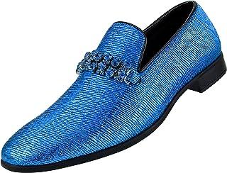 Amali Men's Crimped Shimmering Smoking Slipper with Flashy Matching Rhinestone Bit Loafer Dress Shoe, Style Kaleido
