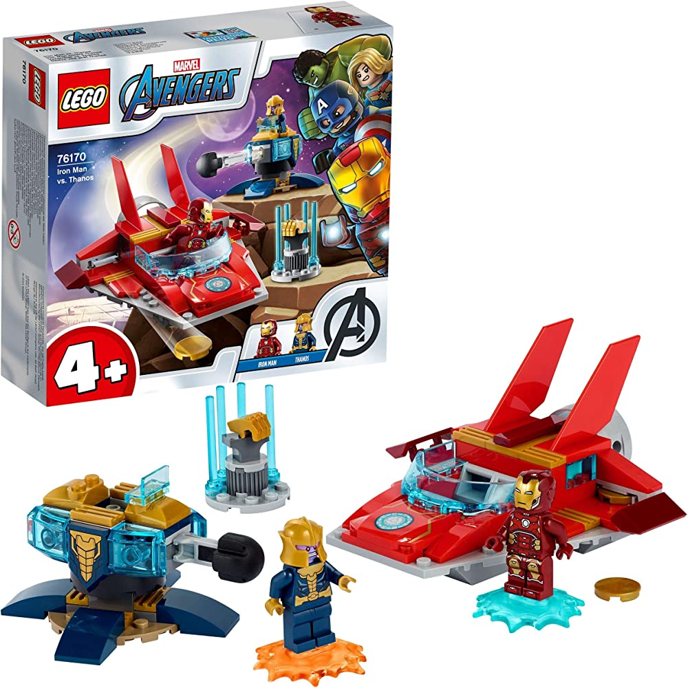 Lego, super heroes marvel avengers iron man vs. thanos,con jet e 2 supereroi 76170