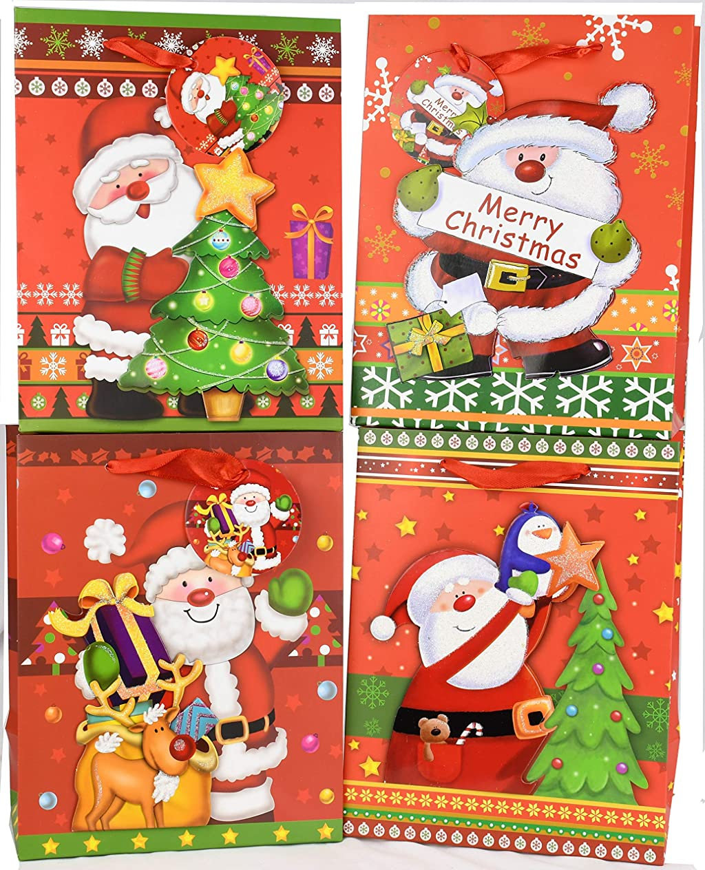 Christmas Santa Gift Bags with Glitter Pack of 12