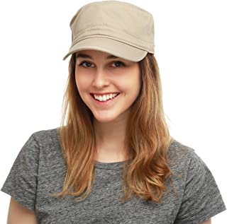 The Hat Depot Washed Cotton Basic & Distressed Cadet Cap Military Army Style Hat