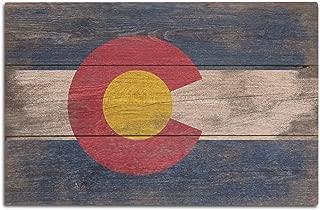 Lantern Press Rustic Colorado State Flag (12x18 Wood Wall Sign, Wall Decor Ready to Hang)