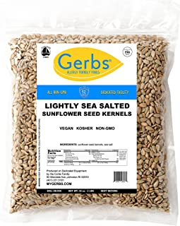 GERBS Lightly Sea Salted Sunflower Seed Kernels, 32 ounce Bag, Roasted, Top 14 Food Allergen Free, Non GMO, Vegan, Keto, P...