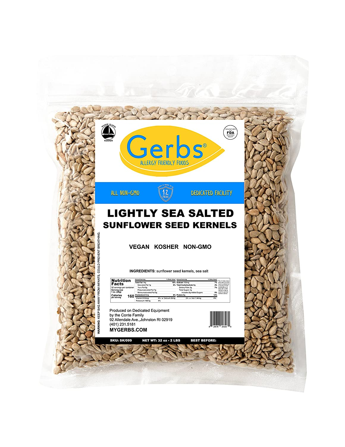 GERBS Animer and price revision Lightly Sea Salted Regular discount Sunflower Seed Kernels ounce R 32 Bag