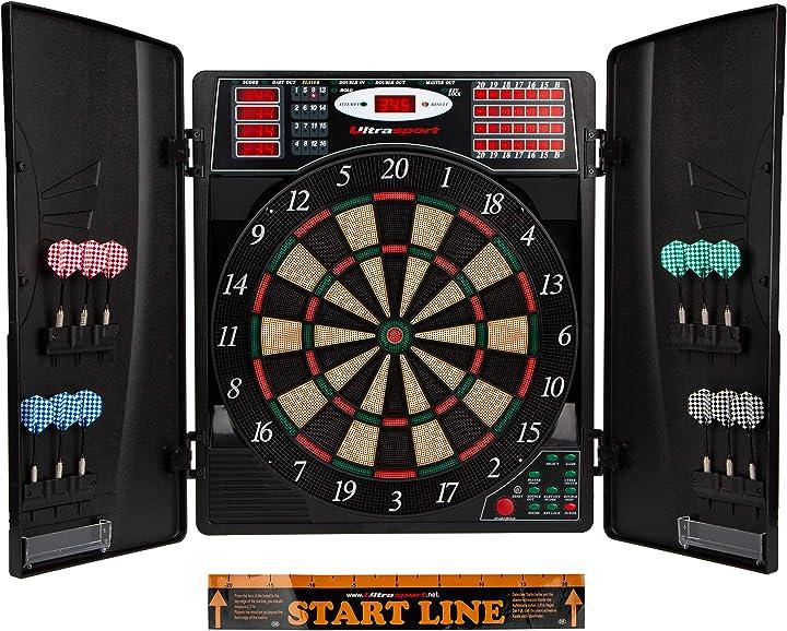 Bersaglio elettronico,con o senza porte, automatico per fino a 16 giocatori, con linea di tiro, 12 freccette 380100000142
