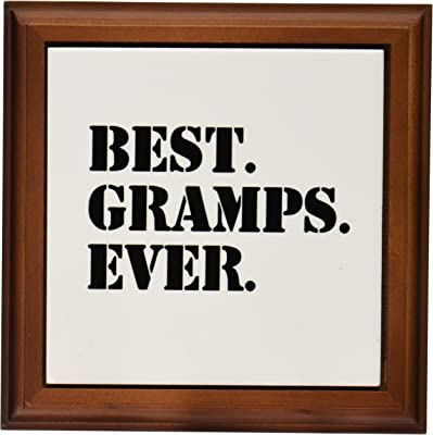 "3dRose Best Gramps Ever Gifts for Grandfathers Granddad Grandpa Nicknames Black Text Framed Tile, 8 by 8"""