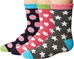 Dots/Hearts/Stars Crew Socks 3-Pair Pack (Toddler/Little Kid/Big Kid)