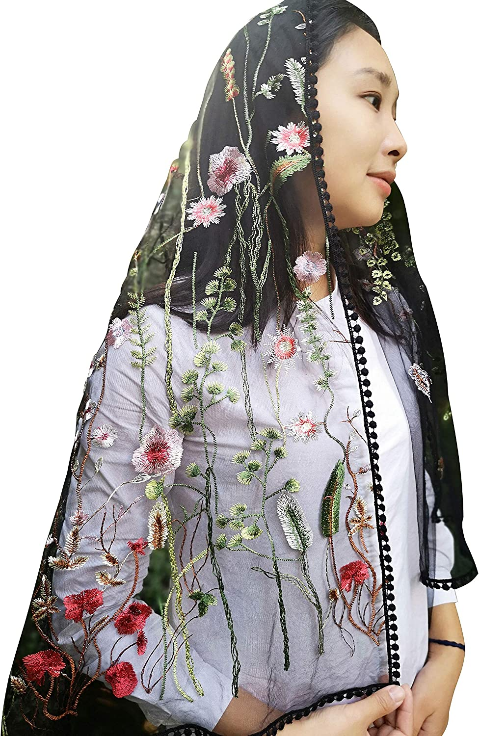 Sevenflowers Wildflowers Floral Lace Wrap Mantilla Floral Vintage Inspired Lace Chapel Veil Y038