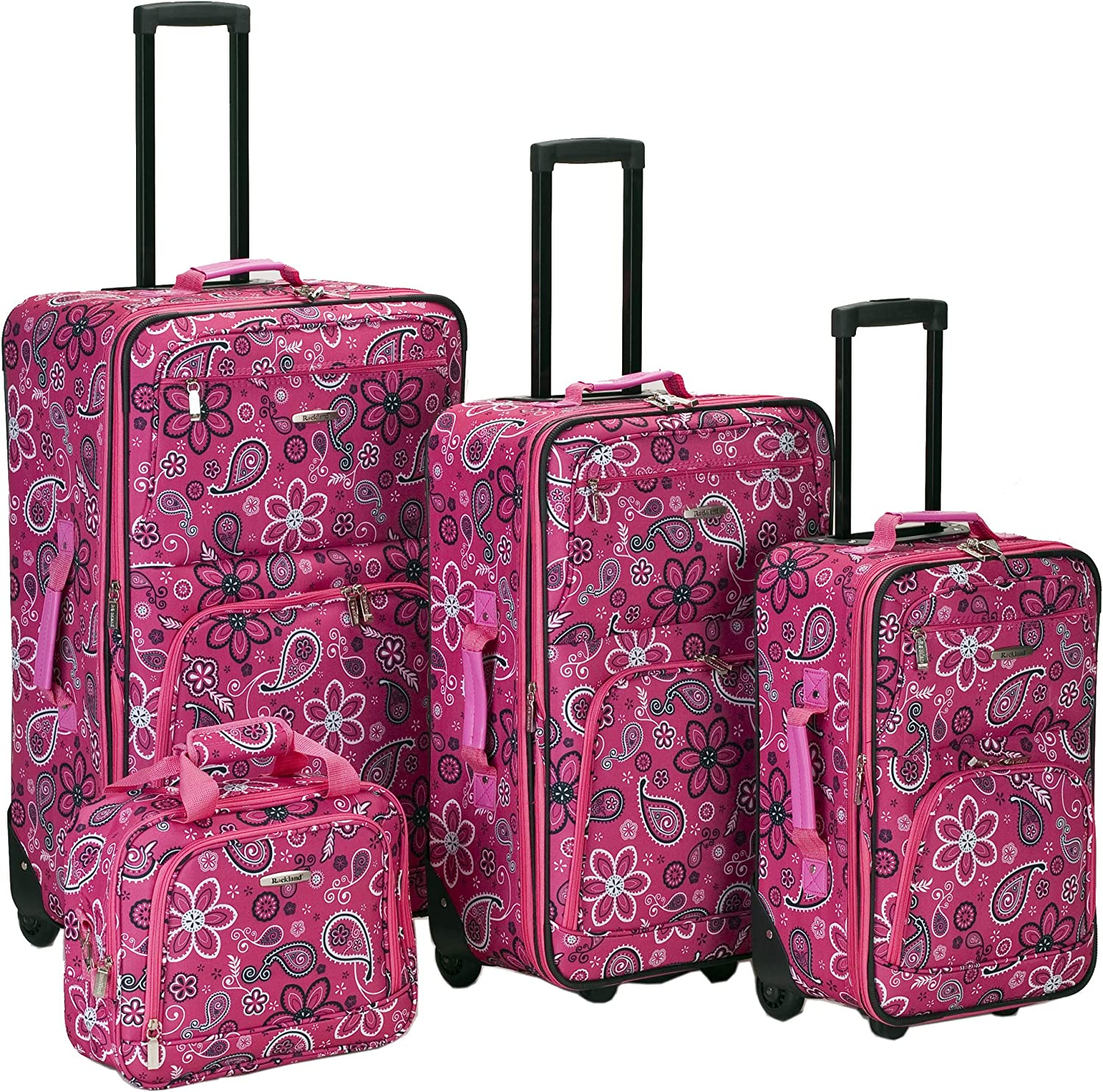 Deluxe Brand new Rockland Impulse 4-Piece Softside Upright Pink Band Set Luggage