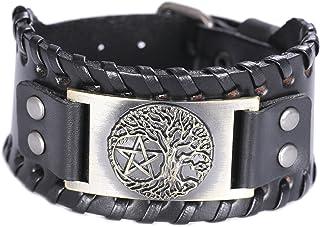 VASSAGO Vintage Norse Myth Tree of Life Yggdrasil Pentagram Amulet Cuff Leather Bracelet