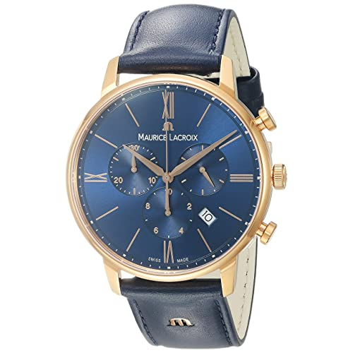 Maurice Lacroix Mens Eliros Quartz Gold and Leather Casual Watch, Color:Blue