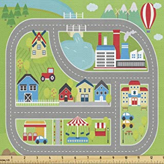 Ambesonne Car Race Track Fabric by The Yard, Roadway Activity Sunny City Landscape Illustration with Farm Factory, Decorat...