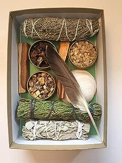 Sacred Scents For You Resin Incense and Sage Smudges Variety Gift Set Includes: Blue Sage, Cedar, White Sage & Palo Santo Wood. Frankincense, Myrrh & Mayan Copal Resins