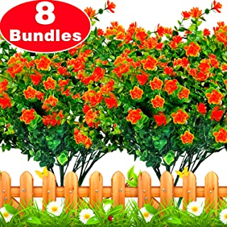 TURNMEON Artificial Flowers, 8 Bundles Faux Outdoor UV Resistant Daffodils Greenery Shrubs, Artificial Plants Garland Fake Flowers Indoor Outside Hanging Planter Garden Office Home Wedding Xmas Decor