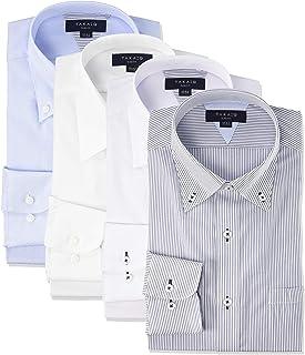 [タカキュー] ワイシャツ 形態安定 抗菌防臭 スリムフィット 長袖 ビジネスシャツ 4枚セット メンズ