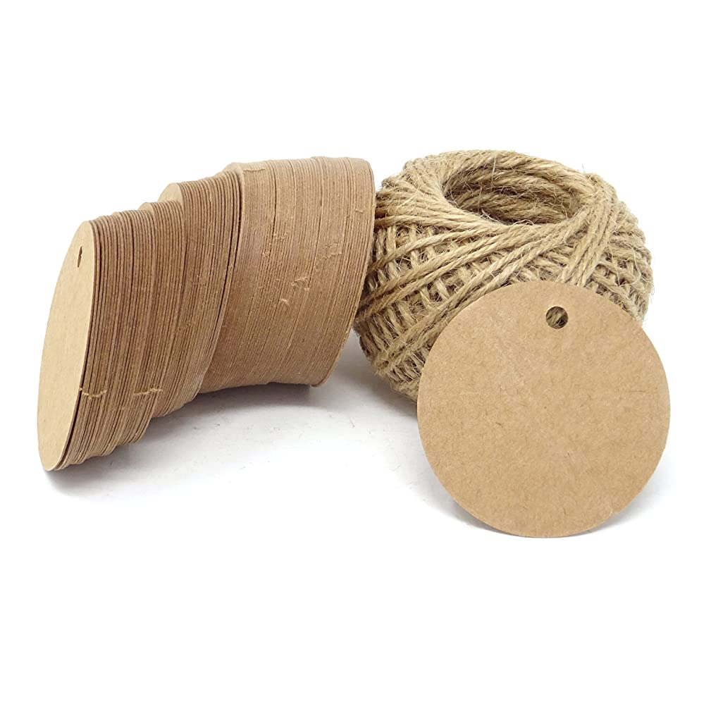 Honbay 100PCS Kraft Paper Blank Round Tags with 100 Feet Jute Twine for Wedding, Party, Christmas, Gifts, DIY Crafts, etc