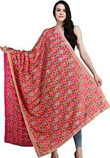 Fuchsia-Purple Phulkari Dupatta from Punjab with Multicolore - Pink