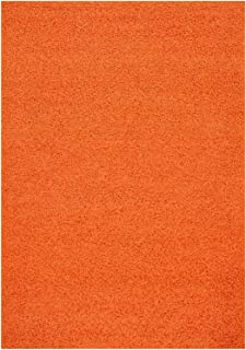 RugStylesOnline Shaggy Collection Solid Color Shag Area Rug Rugs, Bright Orange