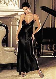 Shirley of Hollywood SOH-20300, Charmeuse and lace long gown. Black XL
