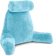 Husband Pillow - Carolina Blue, Big Backrest Reading Bed Rest Pillow with Arms, Plush Memory Foam Fill, Remove Neck Roll Off Bungee, Change Covers, Zipper On Shell of Bed Chair for Adjustable Loft