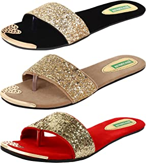AUTHENTIC VOGUE Women's Combo Pack of 3 Slip On Sandal (Combo Pack of 3)