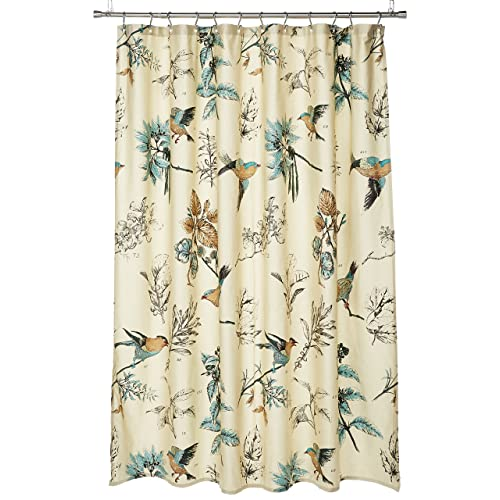Madison Park Quincy Printed Cotton Shower Curtain Khaki 72x72