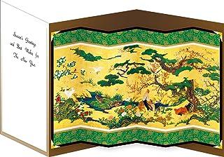 AAP35-1763 和風グリーティングカード/むねかた 立体 「四季花鳥図屏風」(中紙・封筒付) 再生紙