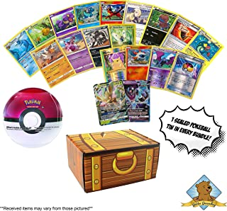 100 Pokemon Cards - 1 Sealed Pokeball Tin - 2 GX Rares - 4 Foils - 4 Rares! Includes Golden Groundhog Deck Box!