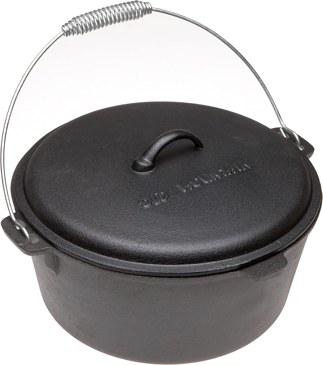 Old Mountain Pre Seasoned 10112 8 Quart Dutch Oven with Dome Lid and Spiral Bail Handle