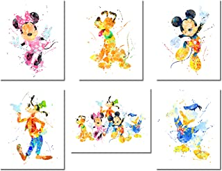 Mickey Mouse Wall Art Watercolor Poster Prints – Set of 6 (8 inches x 10 inches)..