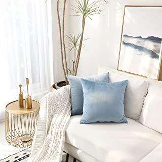 Kevin Textile Velvet Soft Solid Decorative Square Throw Pillow Covers Set Cushion Case for Sofa/Bedroom/Car, Set of 2, 18x18 Inch, Airy Blue