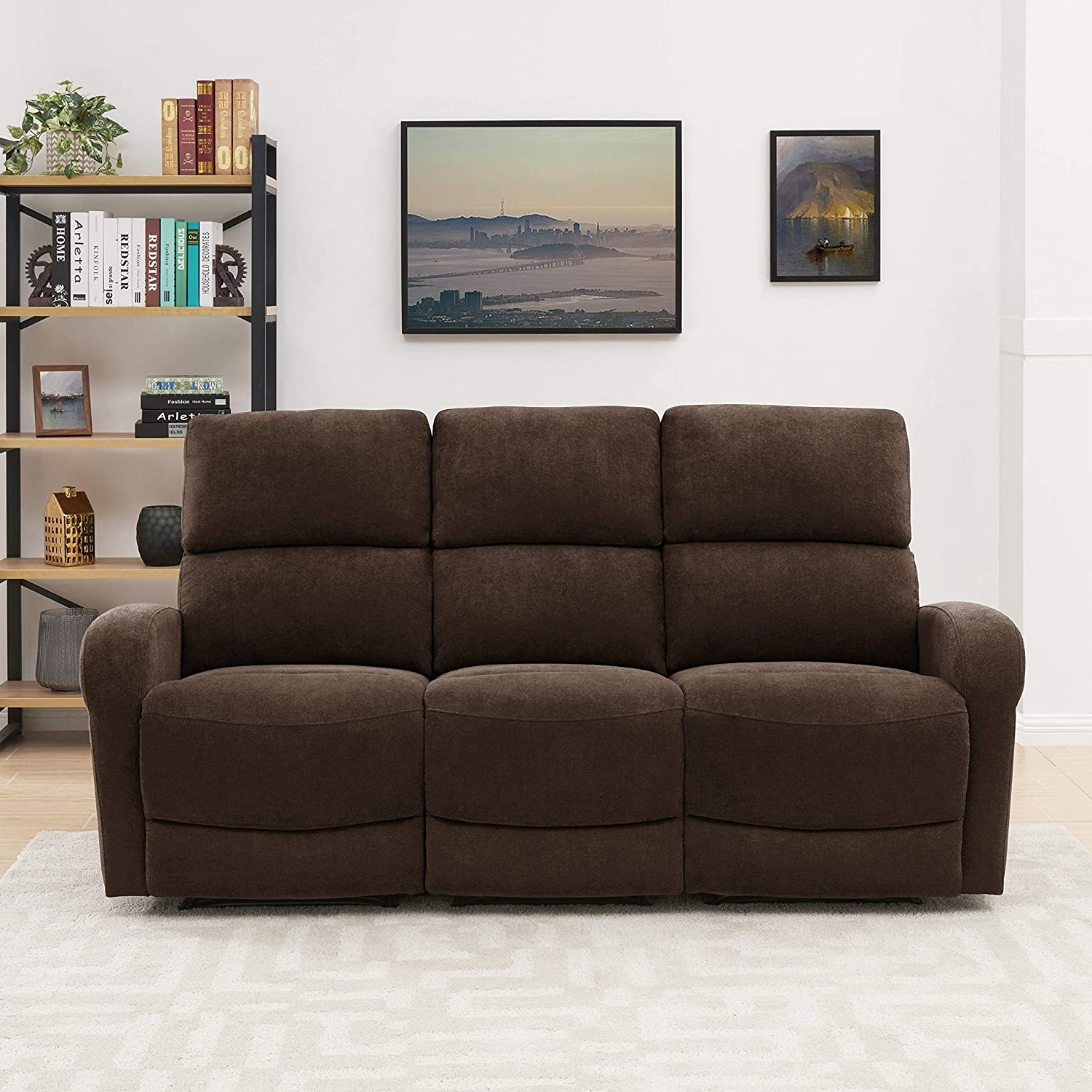 Brown Max 40% OFF Chenille 3-seat Recliner Sofa outlet Solid Modern Tr Contemporary