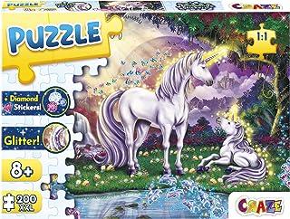 CRAZE 30226 Mystic Lake 200+ części z błyszczącym nadrukiem i diamentami puzzle dla dzieci od 8 lat, 30196, efekt brokatu...