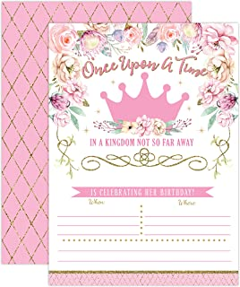 Princess Birthday Invitations, Girl First Birthday Princess Party Invites, Pink and Gold 1st Birthday, 20 Fill In Style with Envelopes