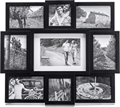"""Malden 9-Opening Collage Picture Frame, Made to Display One (1) 5"""" x 7"""", Two (2) 4"""" x 4"""" and Six (6) 4"""" x 6"""", Black"""